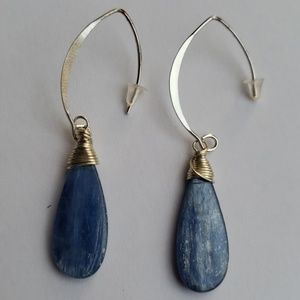 Christmas gift Sterling silver and kyanite earring